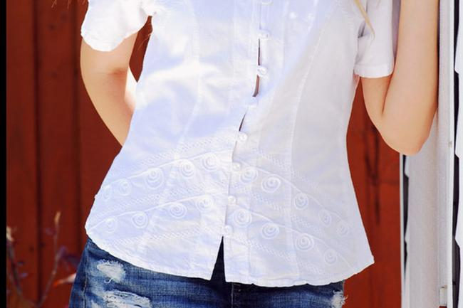 Lirome Embroidered Nautical Vacation Resort Top White Image 4