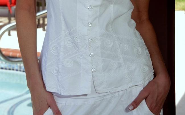 Lirome Embroidered Nautical Vacation Resort Top White Image 7