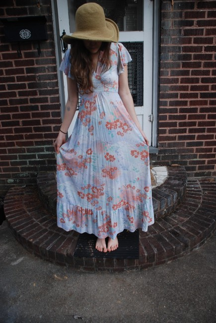 Pastel Floral Maxi Dress by Jody California Vintage Floral Soft Breathable Comfortable Whimsical Feminine Long
