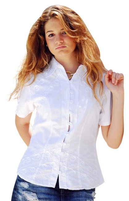 Lirome Embroidered Nautical Vacation Resort Top White Image 1