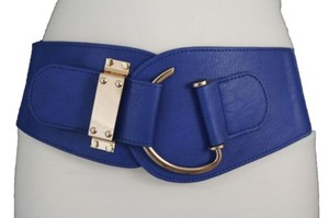 Other Women Elastic Blue Belt Big Gold Hook Buckle Hip Waist Faux Leather Plus