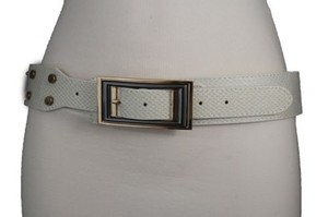 Other Women Belt Waist Hip Off White Ivory Faux Snake Fashion Gold Square Buckle