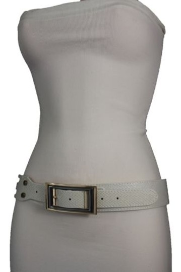 Alwaystyle4you Women Belt Waist Hip Off White Ivory Faux Snake Gold Square Buckle Image 10