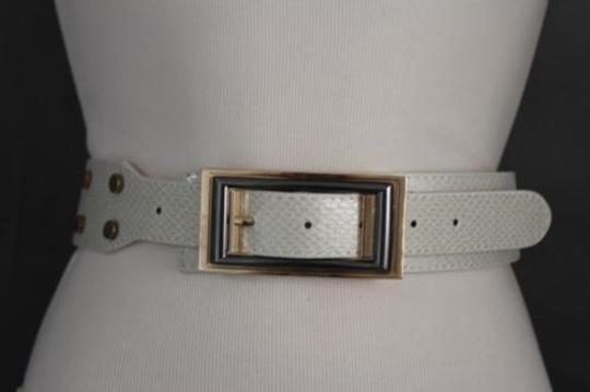 Alwaystyle4you Women Belt Waist Hip Off White Ivory Faux Snake Gold Square Buckle Image 2