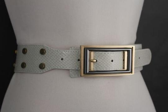 Alwaystyle4you Women Belt Waist Hip Off White Ivory Faux Snake Gold Square Buckle Image 4