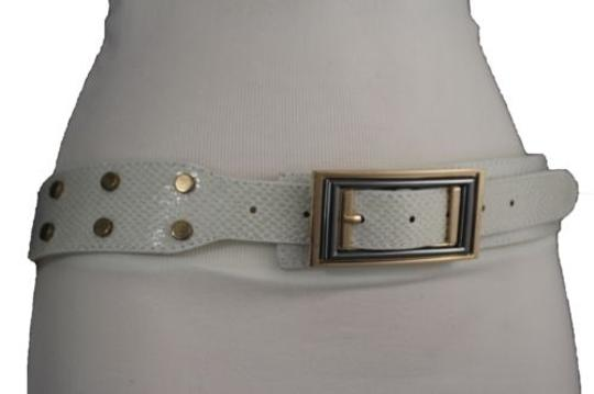 Alwaystyle4you Women Belt Waist Hip Off White Ivory Faux Snake Gold Square Buckle Image 6