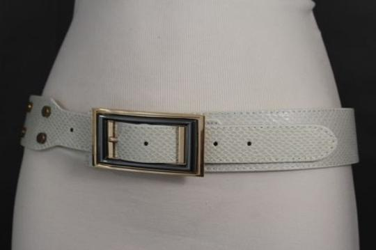 Alwaystyle4you Women Belt Waist Hip Off White Ivory Faux Snake Gold Square Buckle Image 8