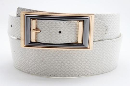 Alwaystyle4you Women Belt Waist Hip Off White Ivory Faux Snake Gold Square Buckle Image 9