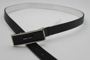 DKNY Dkny Women Classic Narrow Fashion Belt Black Faux Leather Long Buckle