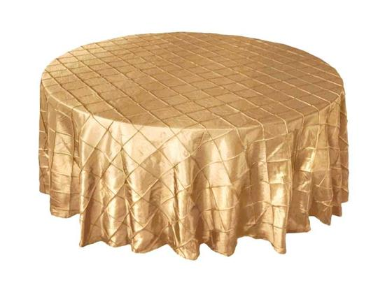 """5pc 108"""" Round (champagne) And 2pc 90 X 132"""" Rectangle (champagne) Pintuck Table Cloths"""