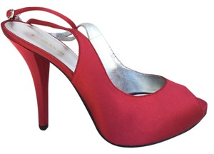 bebe Satin Open Toe Fashion Red Pumps