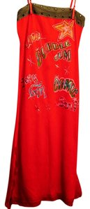 LM Lulu short dress Red/Orange Pop Bright Pencil on Tradesy