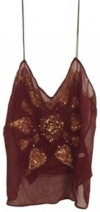 Nordstrom Bead Beaded Top burgundy