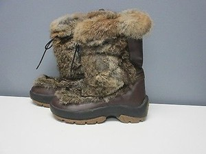 Ulu Leather Rabbit Fur Pull On Outside Lace B3010 brown Boots
