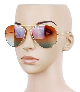 New Brown Blue Lens Thin Frame Sunglasses J2505