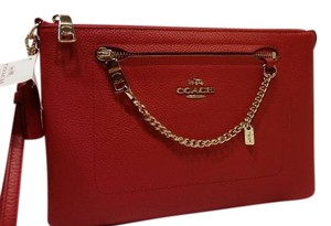 Coach Leather Folio Wristlet in Red