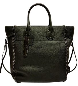 Coach Whiplash Leather Feather Tag Tote in Black