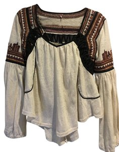 Free People Top Ivory Brown Black Rust