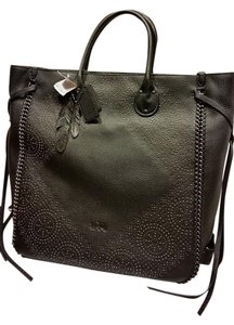 Coach Leather Whiplash Leather Studded Feather Tag Tote in Black