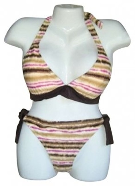 MAGIC BRA 2PC SWIMSUIT TIES AT SIDE BY MAGIC BRA ENHANCES BUST STRIPED