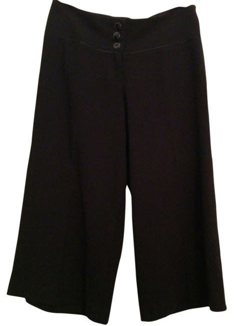 bebe Wide Leg Capri/Cropped Pants Black