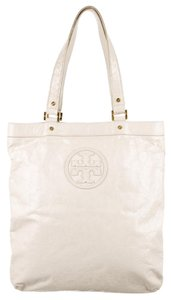 Tory Burch Gold Hardware Embellished Tote in Ivory, White