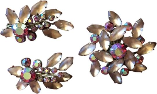 """Other PINK Aurora Borealis """"Juliana Brooch and Earring set"""""""