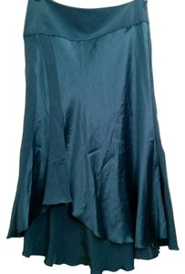 bebe Silk Teal Asymmetrical Flowy Skirt Teal Blue