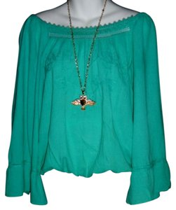 Lirome Boho Embroidered Cozy Summer Top Emerald