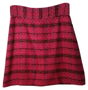 Kate Spade Pencil Wool Mini Skirt Pink Red and Black Plaid