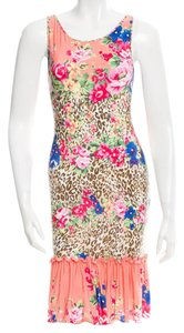 Blumarine short dress Pink, Brown, Green Leopard Sleeveless Floral Print Monogram on Tradesy