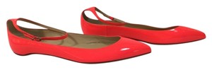 Christian Louboutin Neon Patent Leather Pointed Toe Ankle Strap Mrs. H Neon Pink Flats