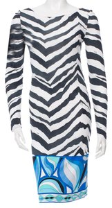 Emilio Pucci V-neck Monogram Longsleeve Silk Dress