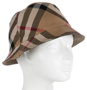 Burberry Tan, red multicolor Nova Check plaid Burberry Bucket hat L Large