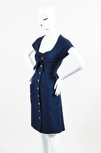 Chanel short dress Blue Navy Gold Tone Cc Button Front Ruffle Trim Ss on Tradesy