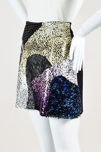 3.1 Phillip Lim Black Wool Sequin Beaded Mini Mini Skirt Multi-Color