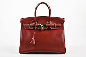 Hermès Hermes Oxblood Box Calf Satchel in Red