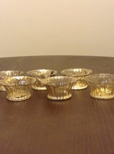 Pier 1 Imports Gold Mercury Glass Fluted Tea Light Holders Set Of 62 Votive/Candle