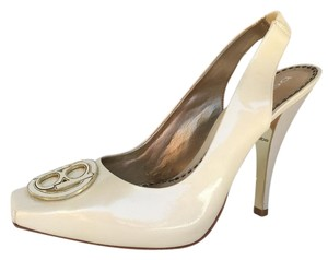 bebe White Slingback Fashion Heel Off White Pumps