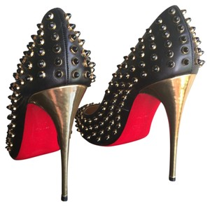 Christian Louboutin Studded Metallic Sexy Black Pumps