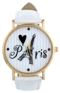 Other New Paris Eiffel Tower Wrist Watch White Band Gold Tone J2508