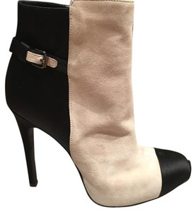 Giambattista Valli Suede Two Tone Satin Ankle Black and cream (tan) Boots