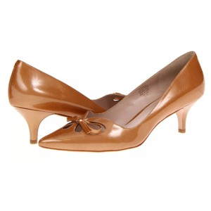 Joan & David Kitten Patent Leather Cut-out Gold Pumps