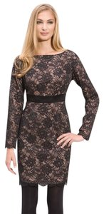 Trina Turk Silk Lace Nude Black Dress