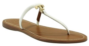 Tory Burch Logo Flat Leather White Sandals