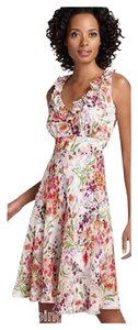 Donna Ricco Silk Floral Sleeveless Ruffle Dress