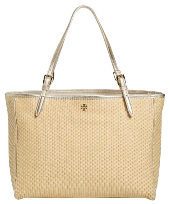 Item - Buckle Tote Large Natural Gold Straw Beach Bag