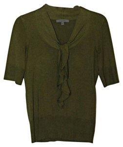 Classiques Entier Silk Wool Cashmere Olive Ruffle Sweater