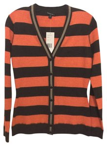 Lafayette 148 New York Brown Gray Striped V-neck Cardigan