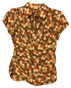 Michael Kors Polka Dot Silk Ruched Orange Mother Of Pearl Top Brown